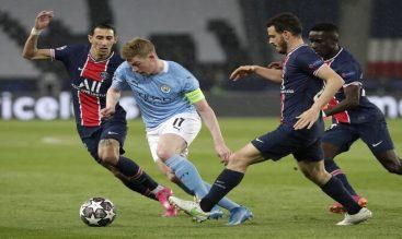De Bruyne marcado por jugadores del PSG. Cuotas Manchester City vs PSG de la Champions League.