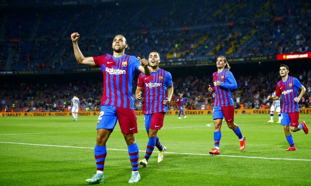 Martin Braithwaite celebra un gol anotado en el Camp Nou. Cuotas Athletic Club vs Barcelona.